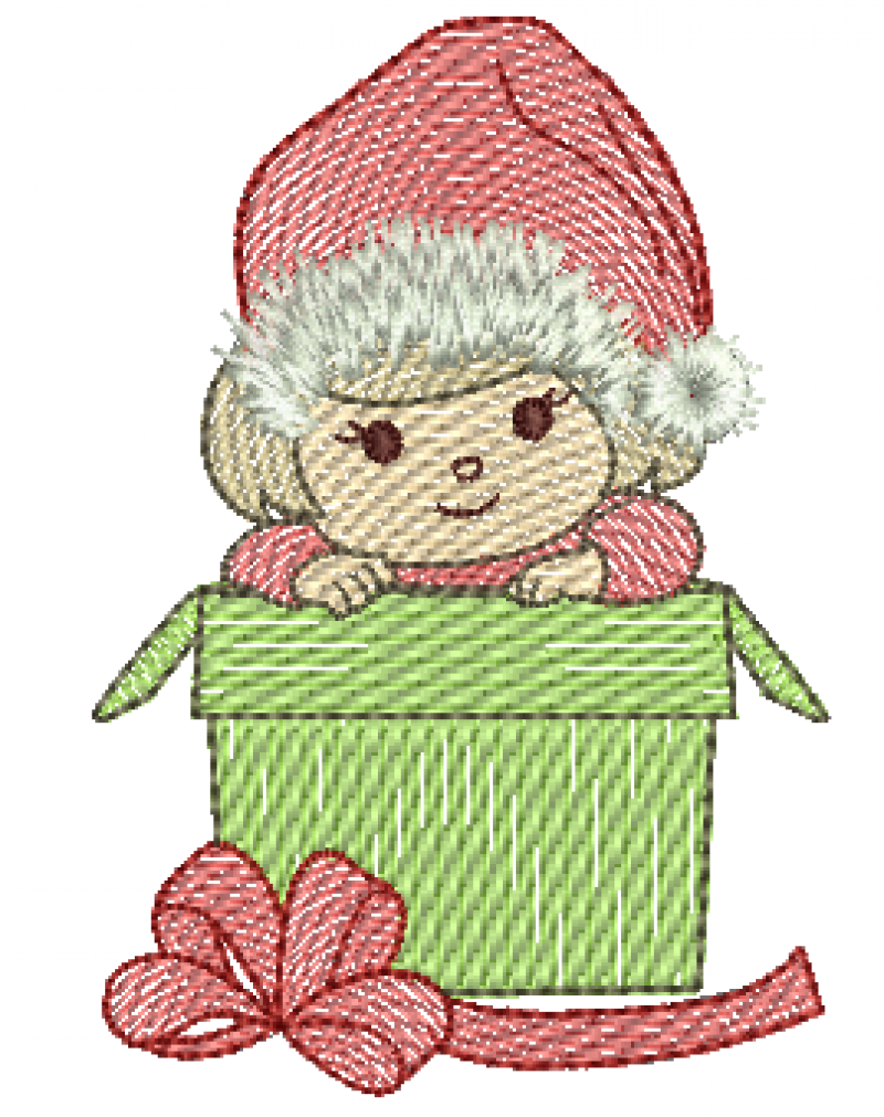 Menina no Presente de Natal - Rippled