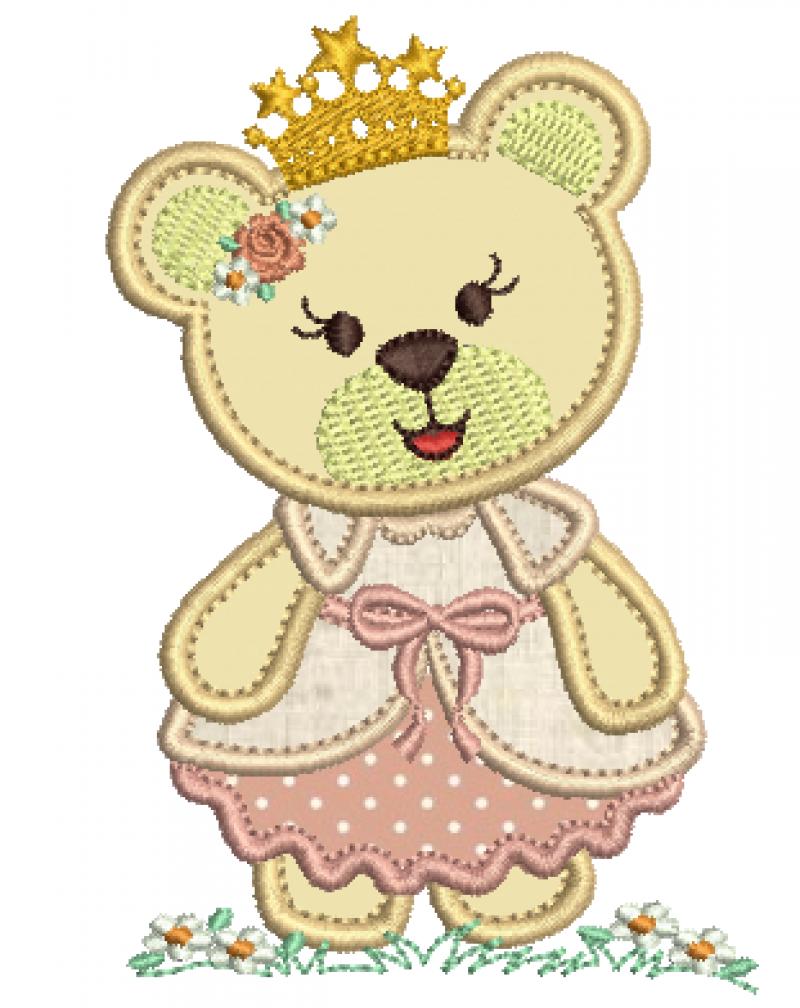 Ursa Princesa com Coroa - Aplique