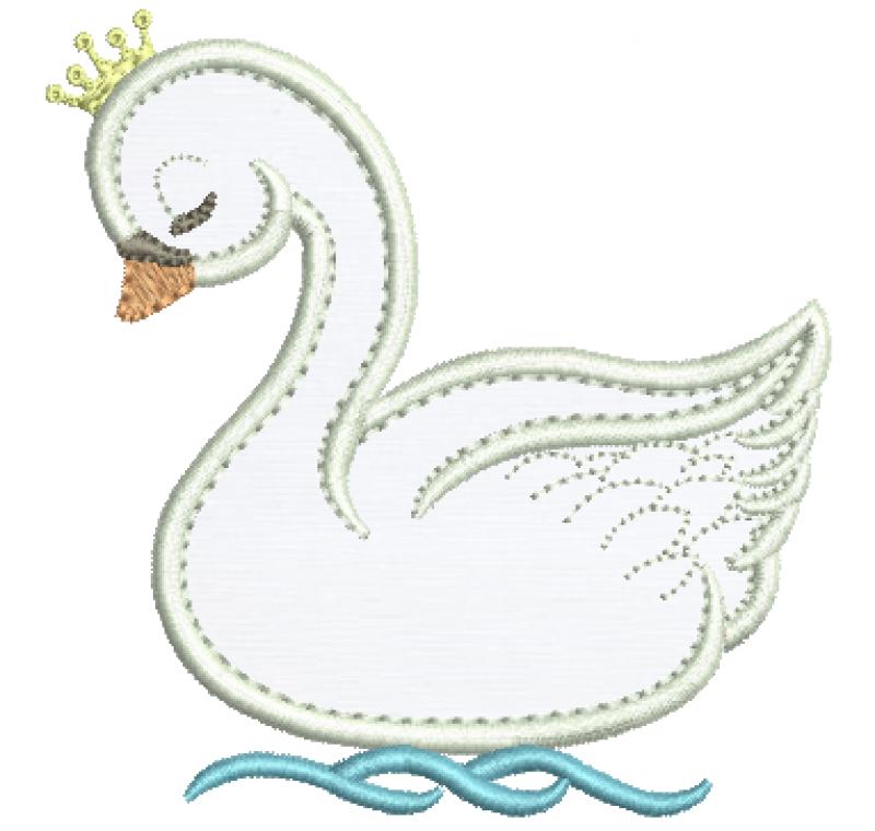 Cisne com Coroa - Aplique