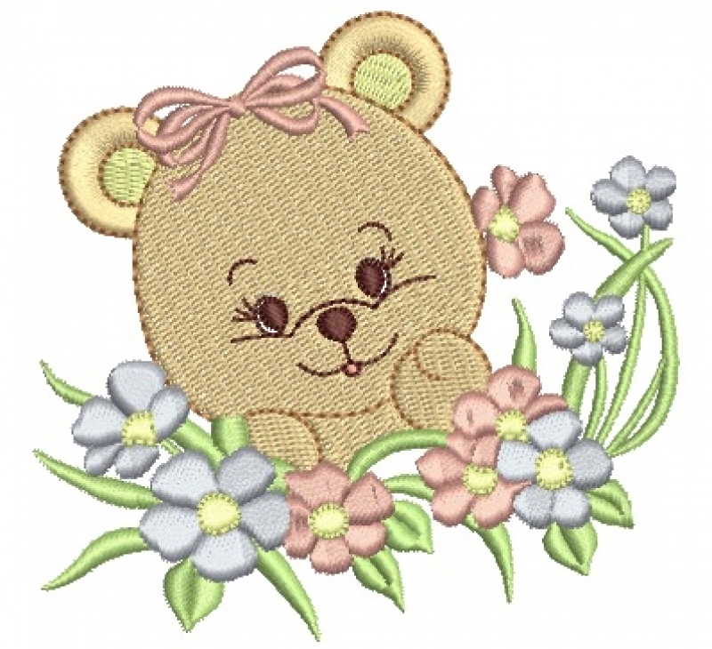 Ursa com Raminho de Flores - Ponto Cheio
