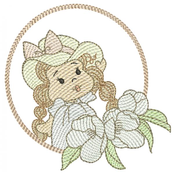 Menina Flores Chapéu e Molduras - Pontos Leves
