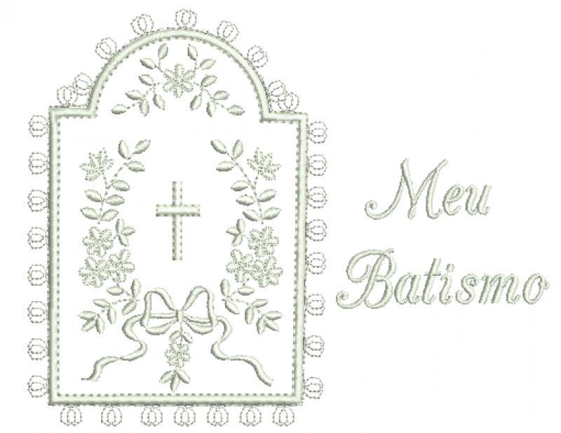 Moldura com Ramo Floras Meu Batismo - Aplique