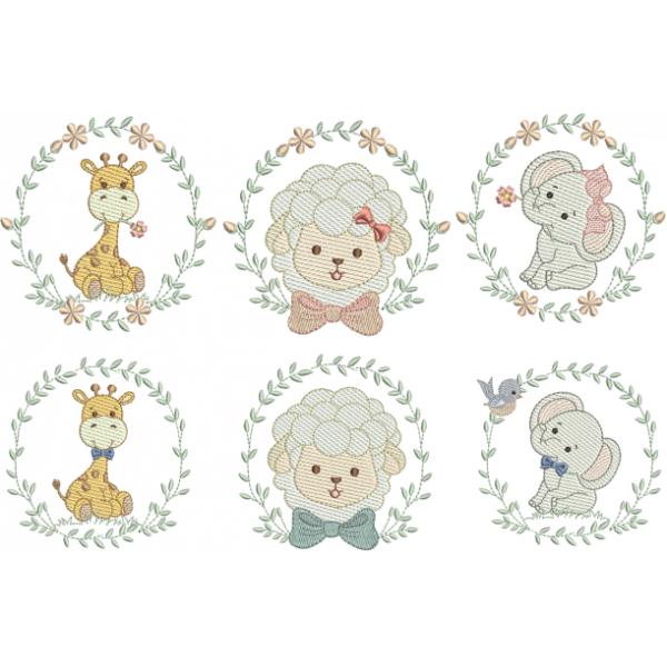 Pacote Animais Cute - 6 matrizes - Pontos Leves