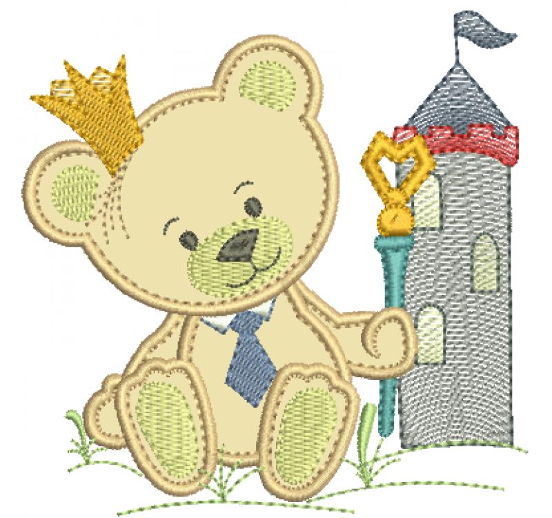 Urso Rei com Cetro e Castelo - Aplique