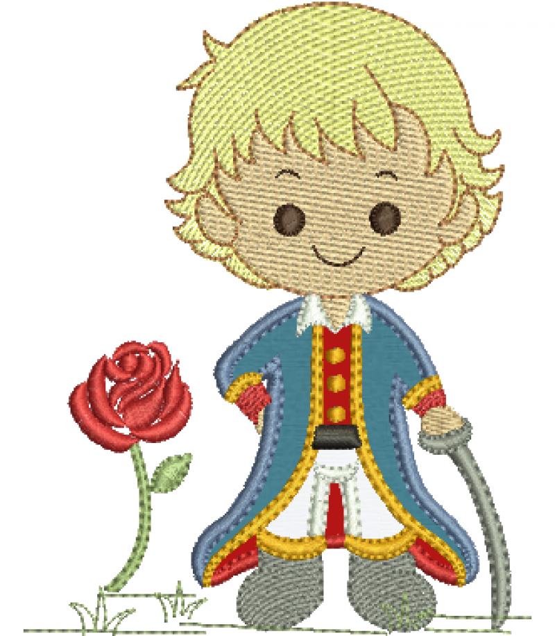 Menino Principe com Rosa e Espada - Aplique