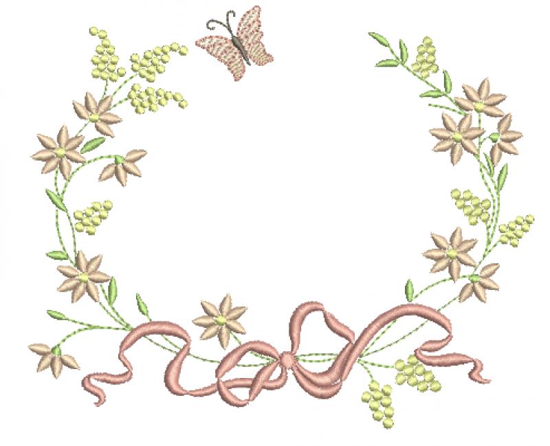 Guirlanda com Florzinhas, laço e Borboleta