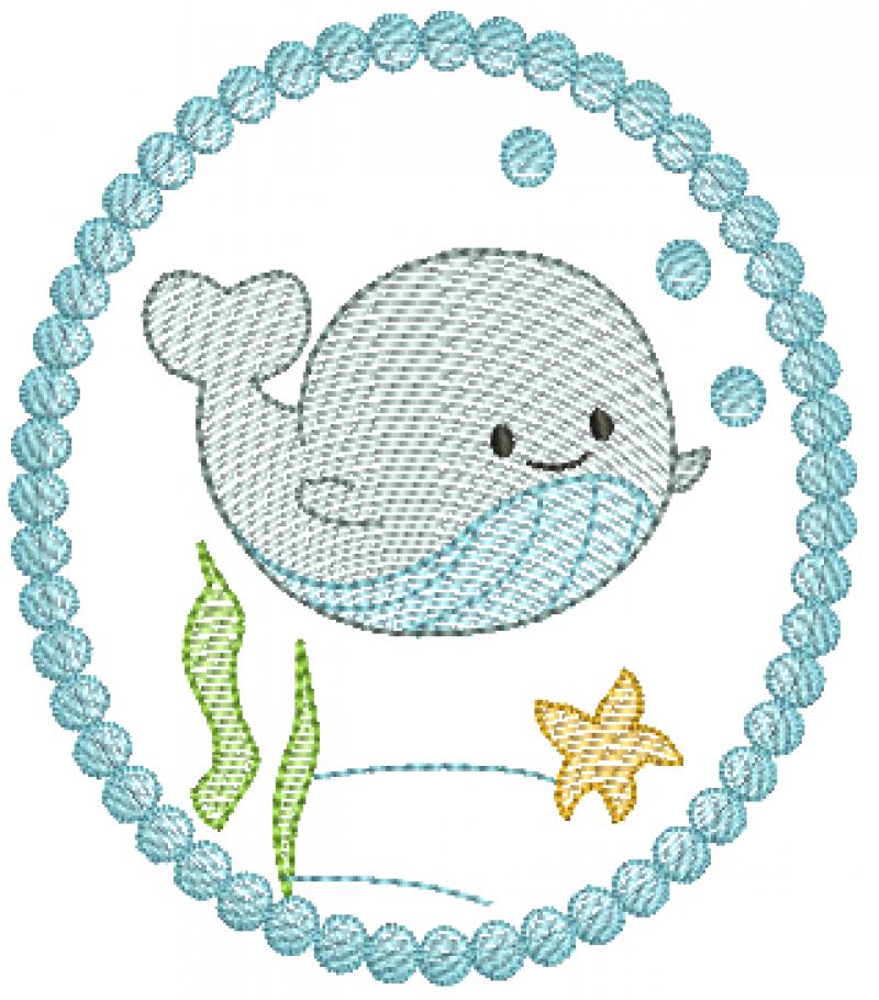 Baleia Menino na Moldura - Rippled