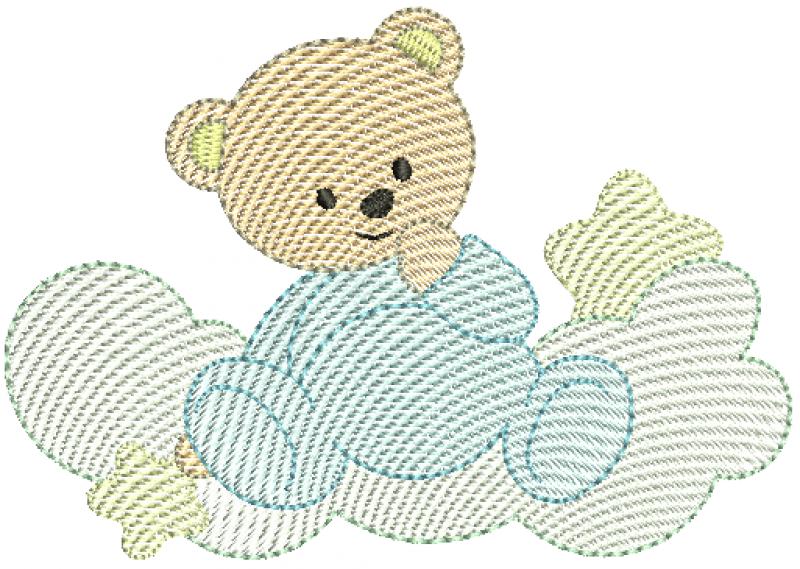 Urso Sentado na Nuvem com Estrelas - Rippled