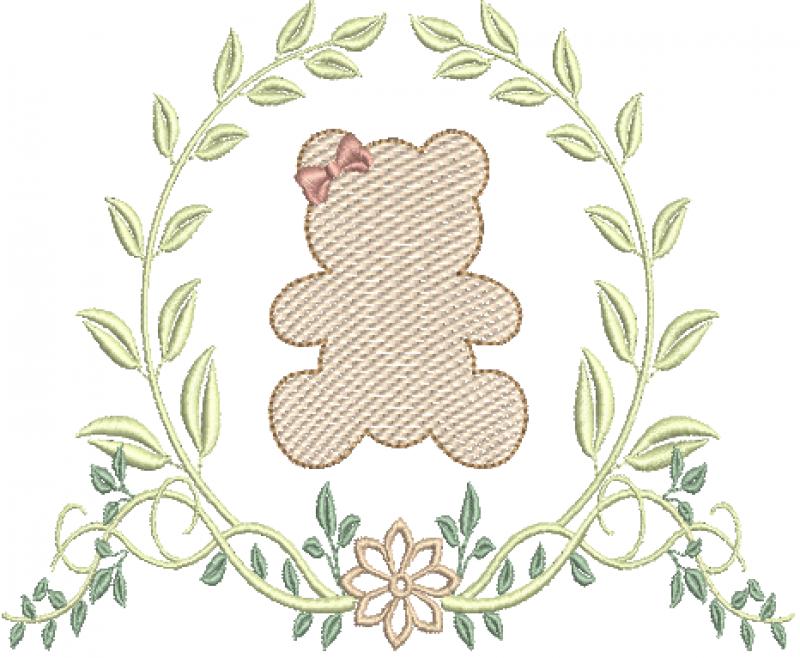 Ramo com Flor e Ursa em Rippled