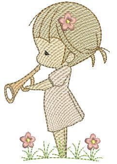 Menina Cute com Trompete - Rippled