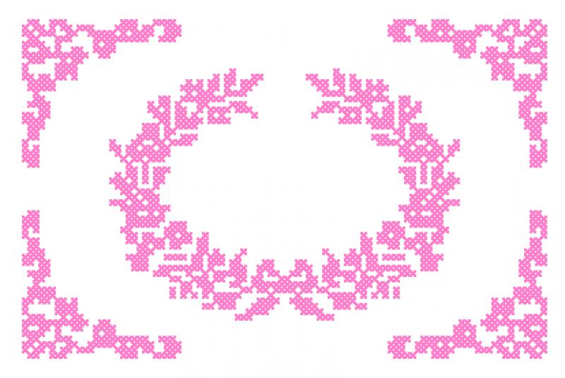 Moldura com Rosas em Ponto Cruz