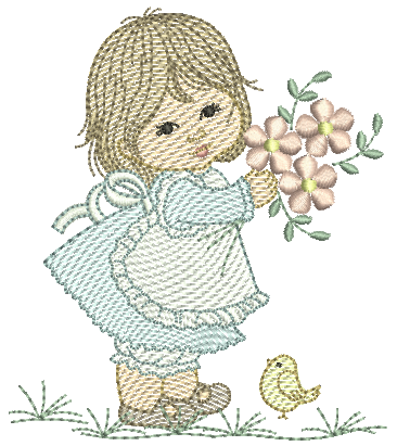 Menina e Flores - Pontos Leves