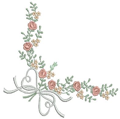 Cantoneira com Laços e Rosas – Ponto Cheio