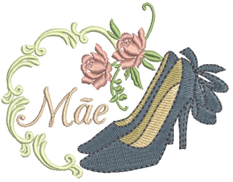 Moldura com Sapato e Rosas - Ponto Cheio