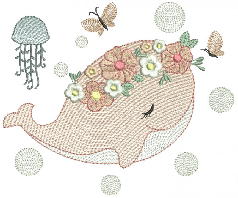 Baleia nas Bolhas Com Flores - Rippled
