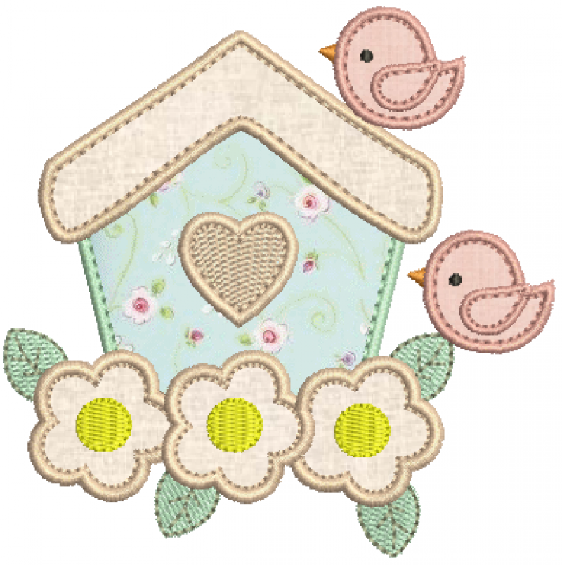 Casa de Passarinhos e Flores - Aplique