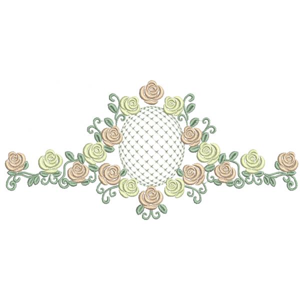 Rosas e Moldura Crivo - Ponto Cheio