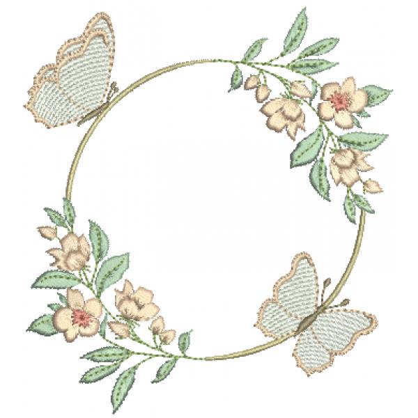 Borboletas e Flores Guirlanda - Pontos Leves e Cheio