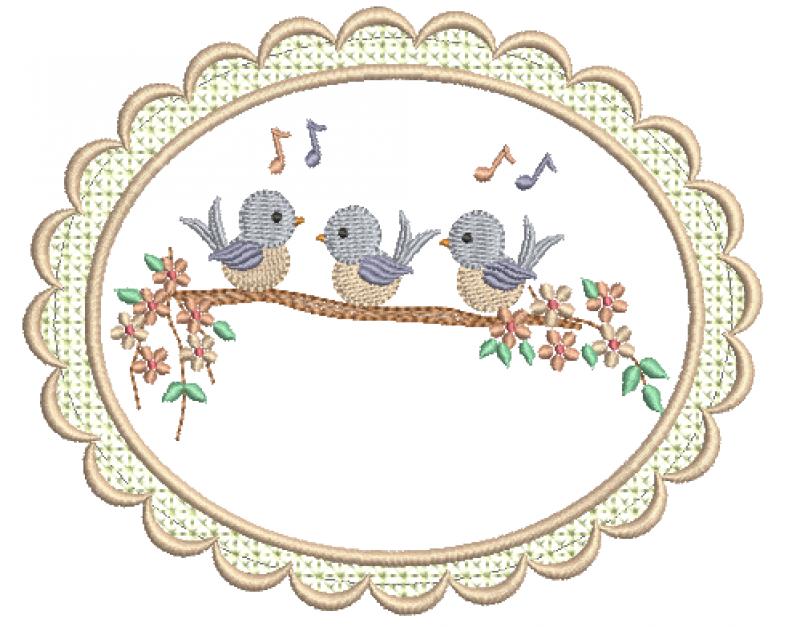 Trio de Passarinhos no Galho e Moldura - Ponto Cheio