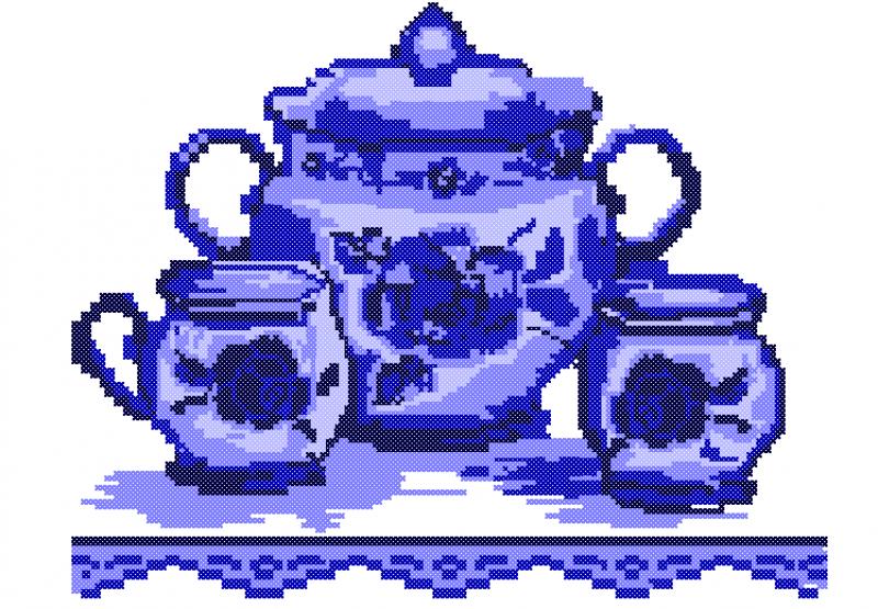 Potes de Cerâmica Azul - Ponto Cruz