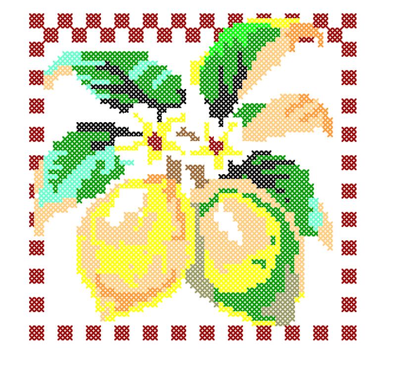 Moldura com Limões - Ponto Cruz