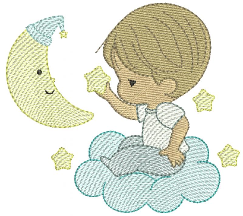 Menino Cute na Nuvem Segurando Estrela - Rippled