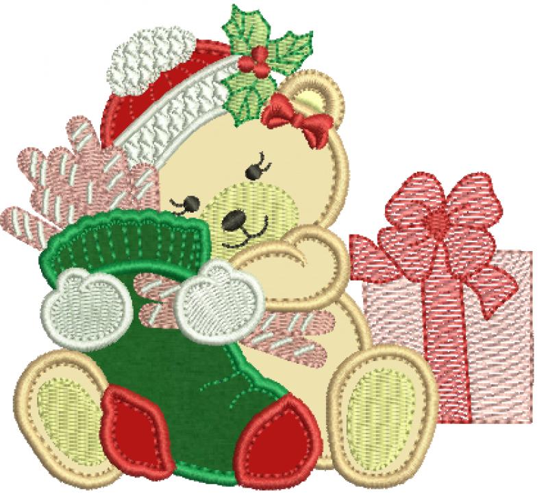 Ursa Natalina Segurando Meia - Aplique