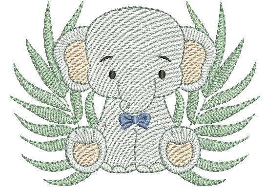 Elefante Sentado com Folhagem - Rippled