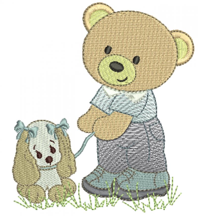 Urso Segurando Cachorrinho - Rippled e Ponto Cheio