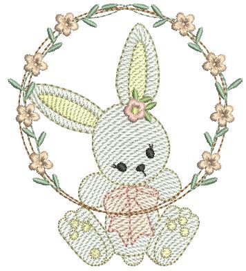 Coelha na Guirlanda de Flores - Rippled