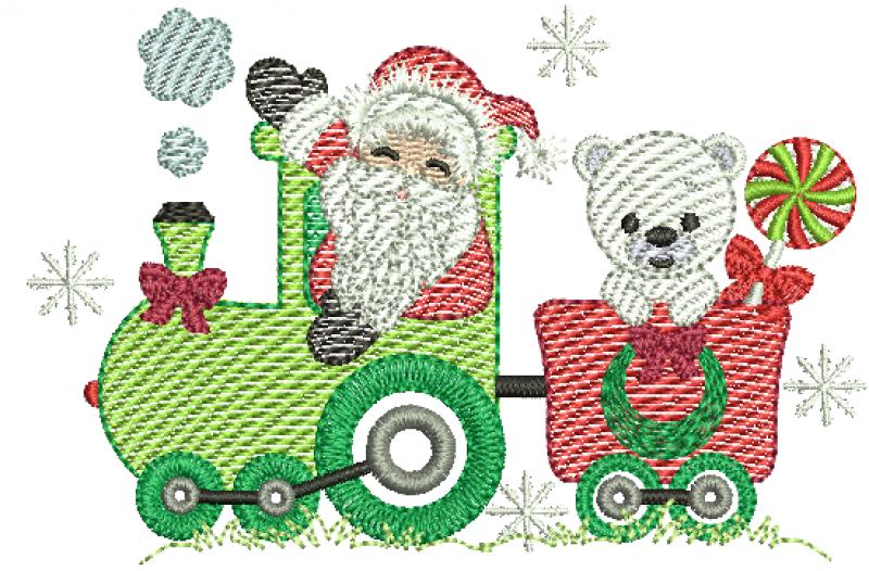 Trem natalino com Papai Noel e Ursinho - Rippled