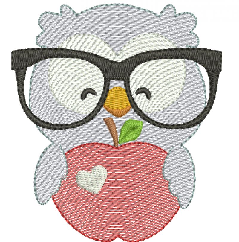 Coruja de Óculos Segurando Maçã - Rippled
