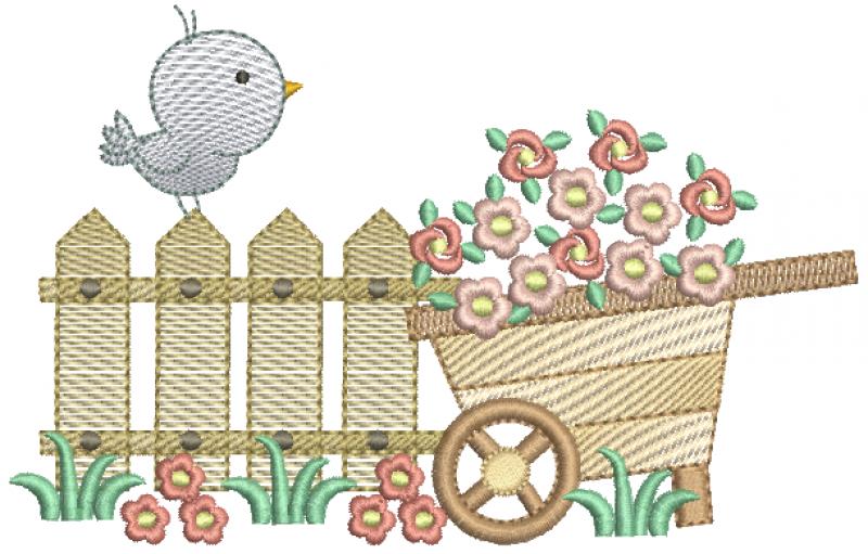 Passarinho na Cerquinha e Carriola de Flor - Rippled