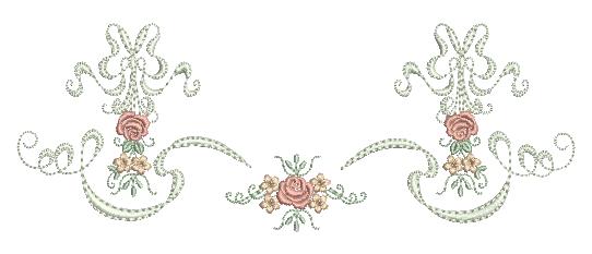 Rosas e Florzinhas com Laços - Ponto Cheio