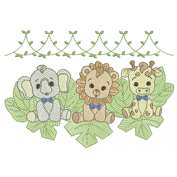 Elefante - Leão e Girafa Meninos e Folhas - Pontos Leves