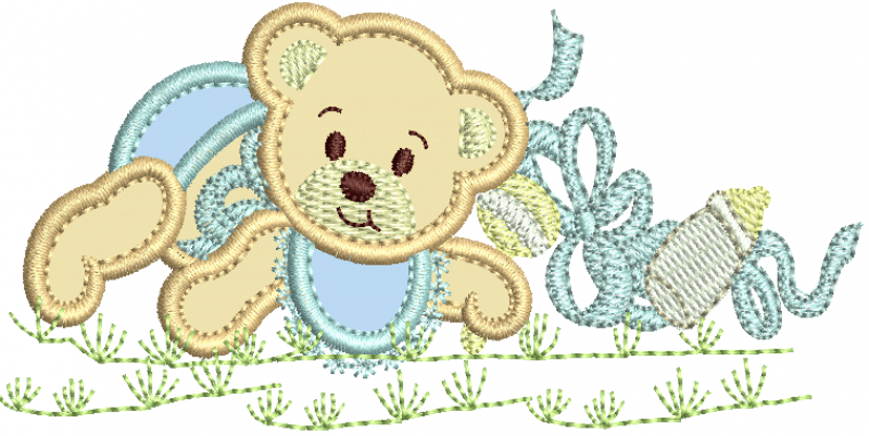 Urso com Chocalho - Aplique