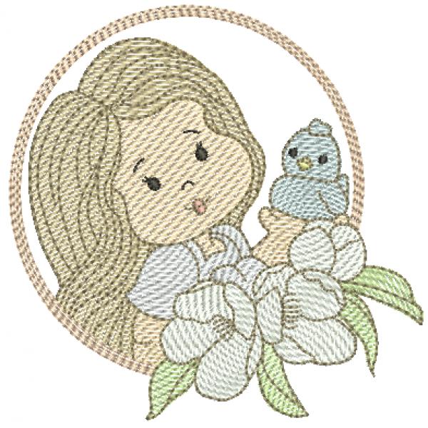 Menina Flores Passarinho e Molduras - Pontos Leves