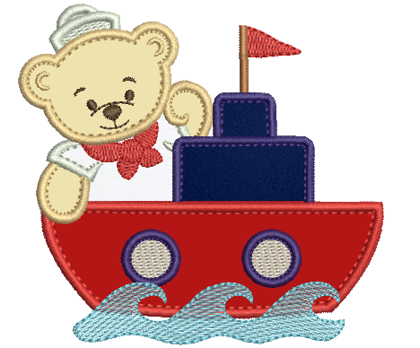 Urso Marinheiro no Barquinho - Aplique