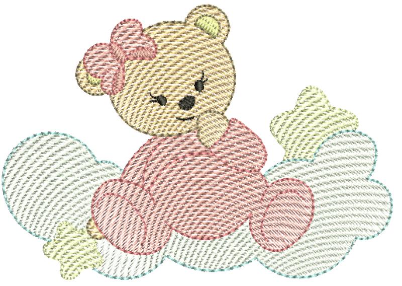 Ursa Sentada na Nuvem com Estrelas - Rippled