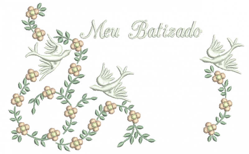 Ramos com Florzinhas e Pombos Meu Batismo - Ponto Cheio