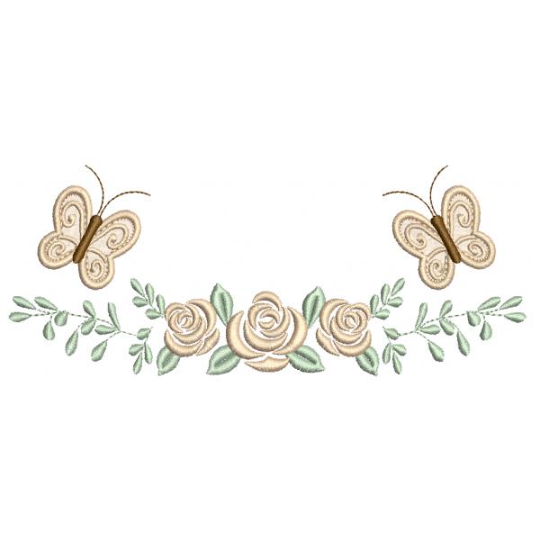 Rosas e Ramo Borboletas 3D  - Ponto Cheio
