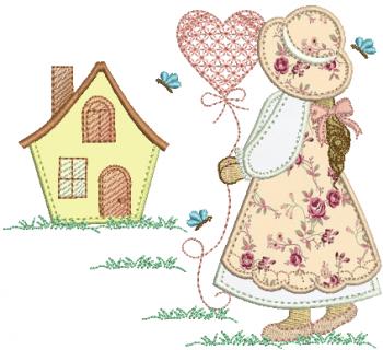 Menina Sunbonnet Com Balão e Casa Aplique