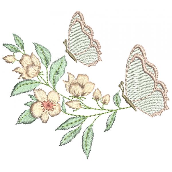 Borboleta e Flores no Galho - Pontos Leves e Cheio
