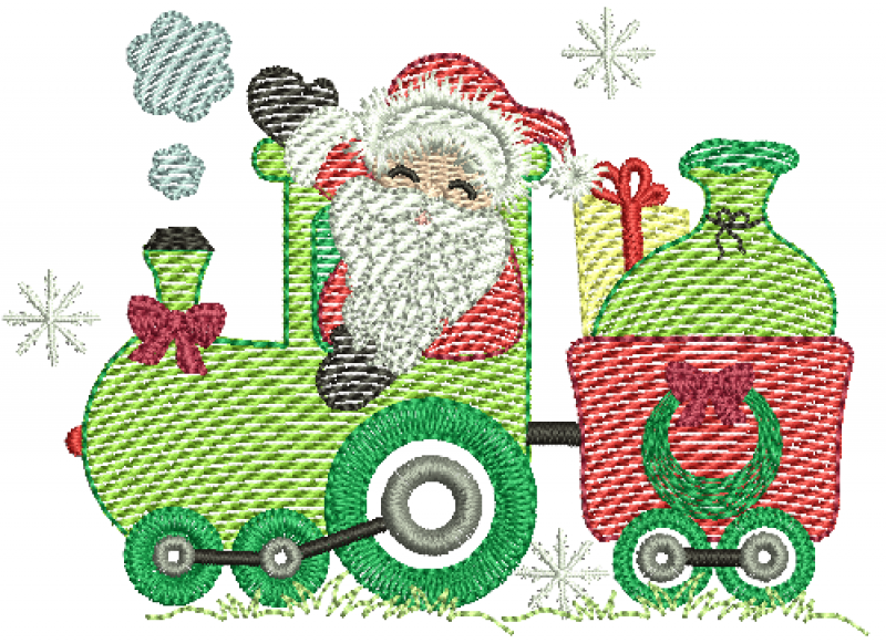 Trem natalino com Papai Noel e Presente - Rippled