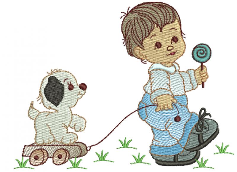 Menino Puxando Cachorro no Carrinho Ponto Rippled