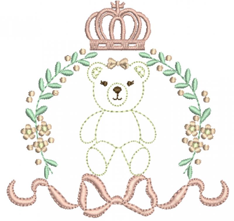 Moldura com Flores, Coroa, Laço - Ponto Cheio - Com Ursa Ponto Corrido