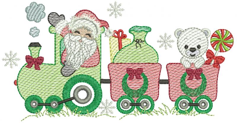Trem natalino com Papai Noel e Urso - Rippled