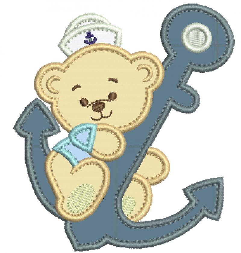 Urso Marinheiro Segurando Âncora - Aplique