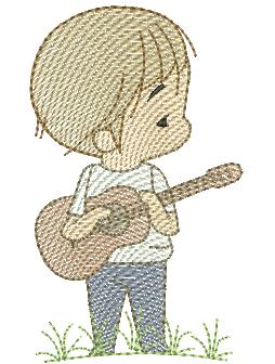 Menino Cute Violão - Rippled