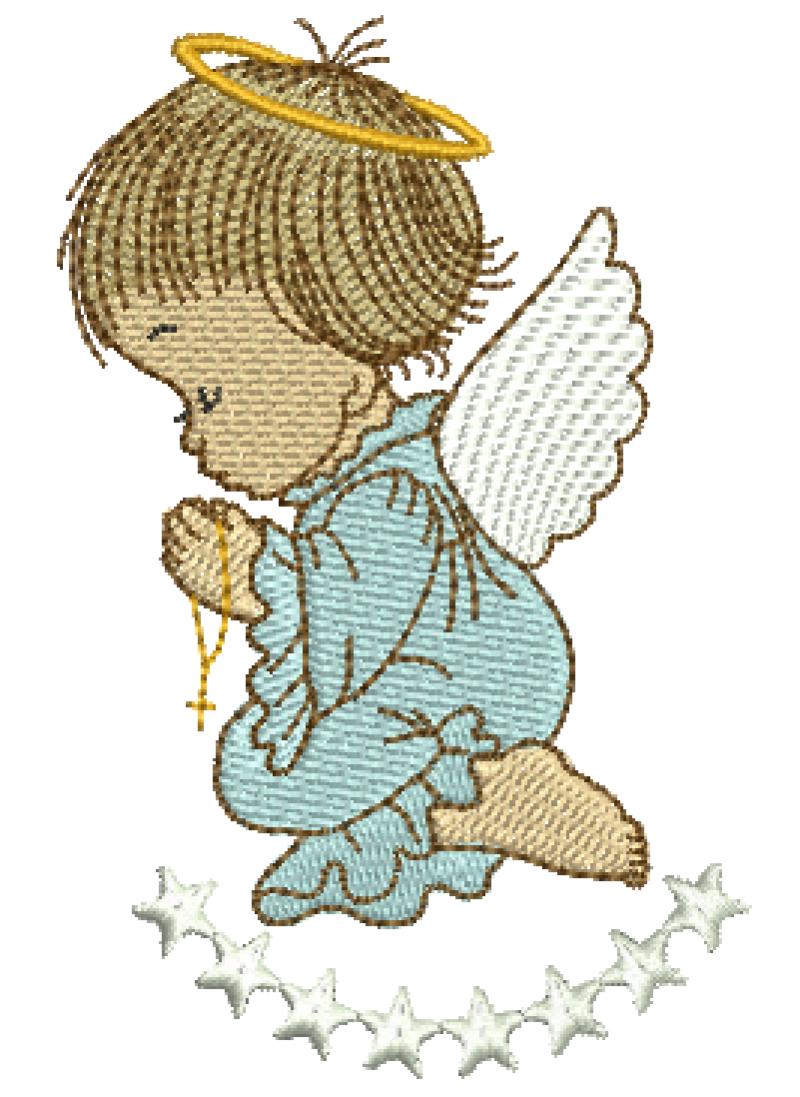 Anjo Menino Orando com Estrelas - Ponto Cheio